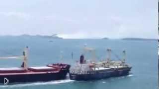 Смотреть онлайн Катастрофа на море – столкновение двух кораблей
