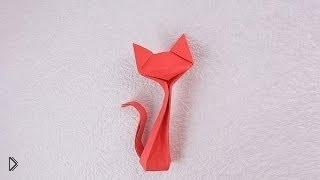 Смотреть онлайн Как сделать оригами кошку:схема