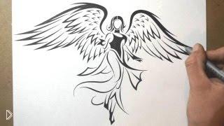 Смотреть онлайн Рисуем ангела с крыльями карандашом