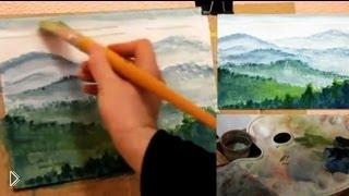 Смотреть онлайн Как поэтапно рисовать пейзаж гуашью для начинающих
