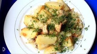 Смотреть онлайн Картошка и грибы в рукаве с квашеной капустой