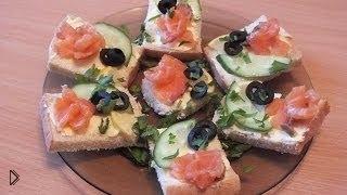Смотреть онлайн Рецепт бутербродов с семгой на праздничный стол
