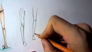Смотреть онлайн Как поэтапно рисовать ноги человека карандашом