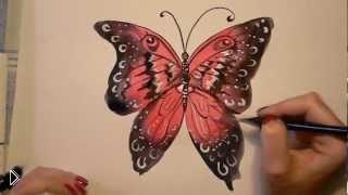 Смотреть онлайн Как поэтапно нарисовать красивую бабочку красками