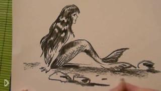 Смотреть онлайн Как поэтапно нарисовать русалку карандашом