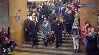 Смотреть онлайн Вокальный флеш моб устроенный хором МВД в метро