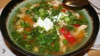 Смотреть онлайн Куриный суп с овощами: рецепт