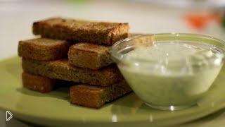 Смотреть онлайн Гренки из хлеба с чесноком и сыром в духовке