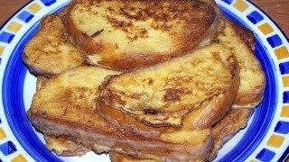 Смотреть онлайн Как готовить гренки из белого хлеба с молоком и яйцом