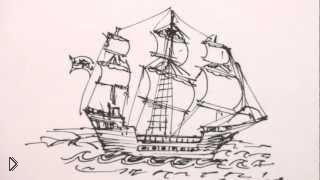 Смотреть онлайн Как нарисовать пиратский корабль с парусами поэтапно