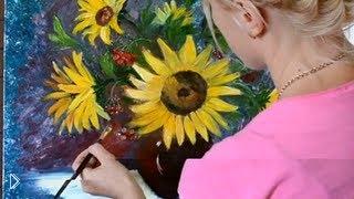 Смотреть онлайн Как нарисовать картину маслом поэтапно: подсолнухи