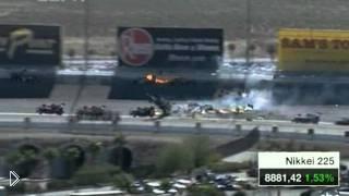 15 машин попали в массовую аварию на гонках Индикар - Видео онлайн
