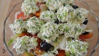 Смотреть онлайн Рецепт вкусного овощного салата с сырными шариками