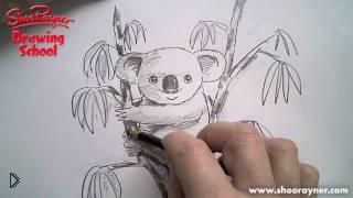 Смотреть онлайн Как нарисовать коалу поэтапно карандашом