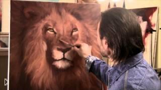 Смотреть онлайн Как нарисовать льва красками поэтапно