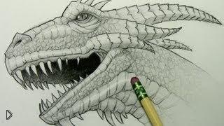 Смотреть онлайн Как нарисовать голову дракона карандашом поэтапно