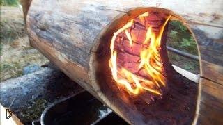 Смотреть онлайн Натуральная мебель из дерева при помощи огня