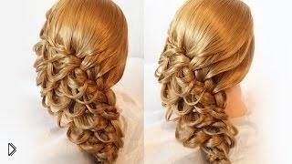 Смотреть онлайн Вечерняя прическа с плетением трех французских кос