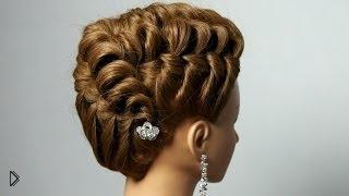 Смотреть онлайн Очень крутая вечерняя прическа на средние волосы