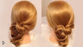 Смотреть онлайн Быстрая прическа на бок: средние волосы