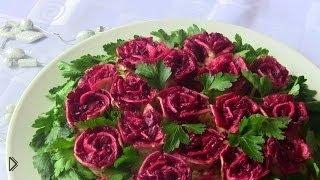 Смотреть онлайн Вкусный мясной салат на праздничный стол