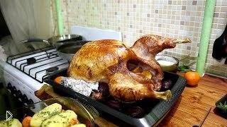 Смотреть онлайн Рецепт индейки запеченной в духовке с картошкой
