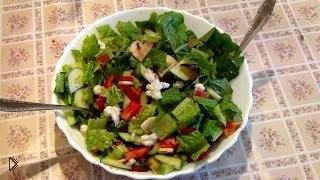 Смотреть онлайн Вкусный салат из сырой цветной капусты и шампиньонов