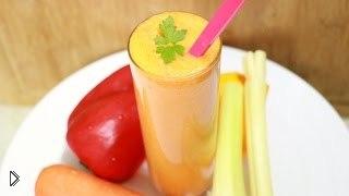 Смотреть онлайн Рецепт приготовления овощного смузи в блендере