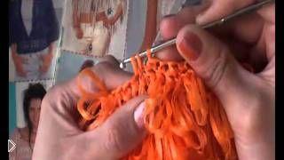 Смотреть онлайн Схема вязания мочалки вытянутыми петлями крючком