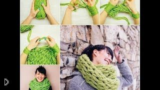 Смотреть онлайн Вязание шарфа без спиц руками