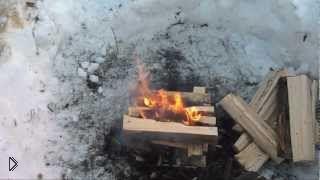 Смотреть онлайн Костер колодец в зимних условиях