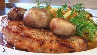 Смотреть онлайн Рецепт: телятина с шампиньонами