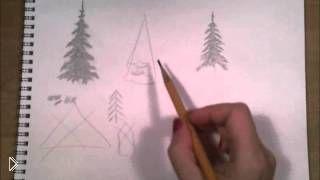 Смотреть онлайн Пошаговый урок рисования елки