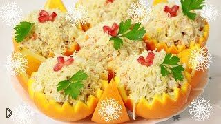 Смотреть онлайн Салат из апельсина с курицей и крабовыми палочками