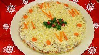 Смотреть онлайн Рецепт мясного салата Новогодние Часы