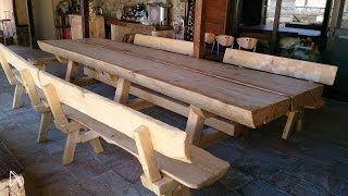 Смотреть онлайн Как сделать деревянный стол и скамьи из одного дерева