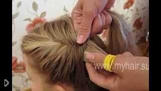 Смотреть онлайн Плетение косы с подхватом «Рыбий хвост» по всей голове