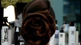 Смотреть онлайн Как сделать прическу на длинные волосы: цветок из волос