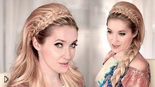 Смотреть онлайн Как сделать прическу с начесом и ободком из косы