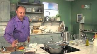 Смотреть онлайн Суп с макаронами фаршированными грибами и картошкой