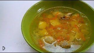 Смотреть онлайн Рецепт вкусного рисового супа с курицей