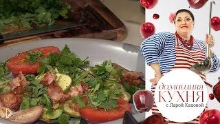 Смотреть онлайн Приготовление жареных овощей на сковороде гриль