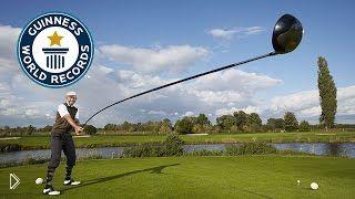 Смотреть онлайн Рекорд Гиннеса: удар самой длинной клюшкой для гольфа