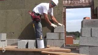 Смотреть онлайн Кладка стены из керамзитобетонных блоков