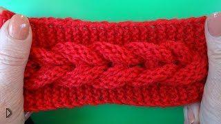 Смотреть онлайн Схема вязания узора «коса» спицами для начинающих