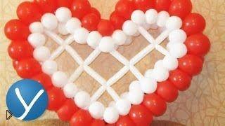 Смотреть онлайн Как сделать сердце из воздушных шаров своими руками