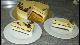 Смотреть онлайн Приготовление красивого торта