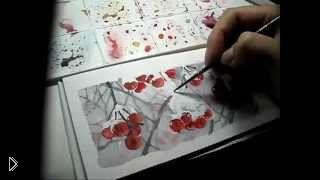 Смотреть онлайн Как правильно рисовать снег на деревьях акварелью