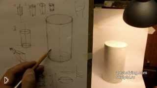 Смотреть онлайн Как правильно поэтапно нарисовать цилиндр карандашом