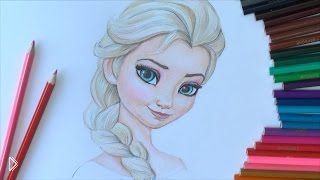 Смотреть онлайн Как поэтапно нарисовать Эльзу из «Холодного сердца»